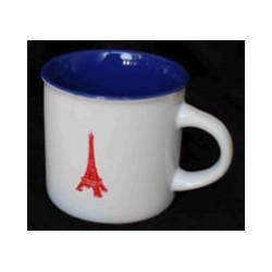 Tasses intérieur bleu tour Eiffel rouge