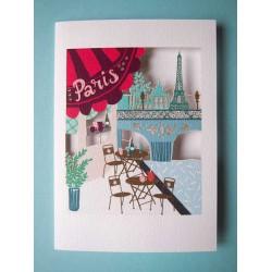 Carte double découpée Tour Eiffel et Pont de Paris